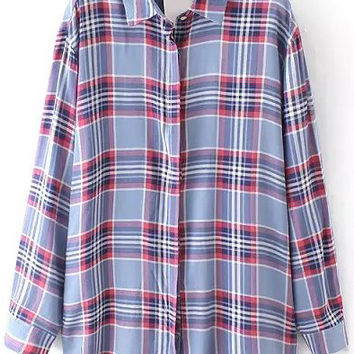 Plaid Long Sleeve Collared Top
