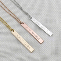 Roman Numeral Necklace, Custom Bar Necklace, Date Necklace, Birthday Gift, Custom Engraved Bar, Wedding date, anniversary date