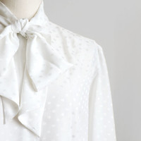 Vintage womens white polka dot shirt in secretary style, white long sleeve geometric shirt with bow tie