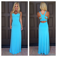Loruh Crochet Back Maxi Dress By SKY - V770RX - BLUE