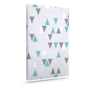 "Nick Atkinson ""Triangle Love II"" Gray Teal Canvas Art"