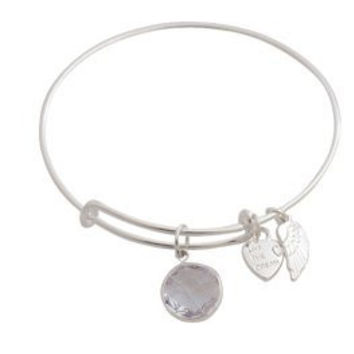 Expandable Bangle Bracelet Birthstone April Charm Silver Plate