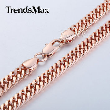 5/7/8mm Curb Link Chain Mens Necklace Rose Gold Filled Necklace Customized Jewelry Gift GNM76