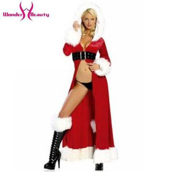 High Quality 2016 Women Red Fancy Chrismas Hooded Robe With Black Belt Costume Sexy Miss Santa Claus Fancy Dress W134066