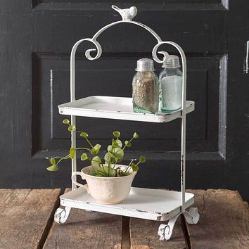 Vintage Style Distressed White Two Tiered Metal Songbird Caddy Display Tray
