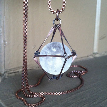 Crystal Ball Necklace Quartz Ball Pendant Necklace Long Necklace Fantasy Jewelry Daniellerosebean Crystal Necklace Statement Necklace
