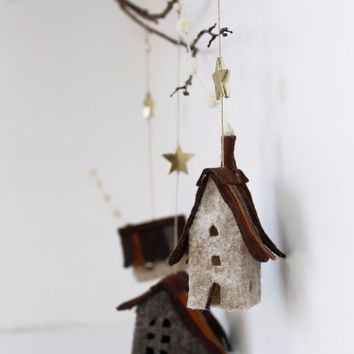 Houses ornaments felt,  Set of 3 rustic cottages, Handmade Housewarming Gifts, Earth, brown,cream shades, Christmas ornaments