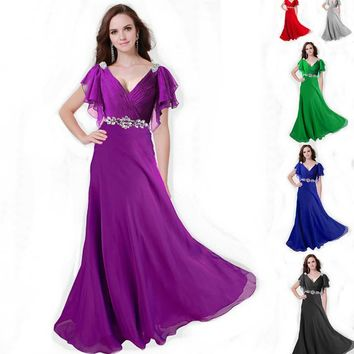 ZJ0097 V neck with sleeve red purple green silver coral elegant party maxi plus size evening prom dresses long 2015 new fashion