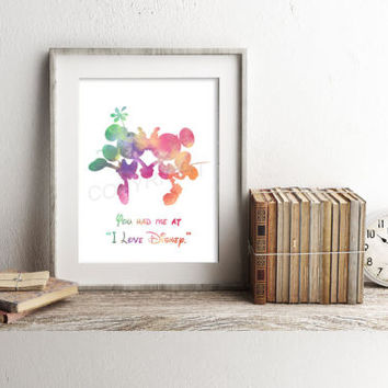 Disney Mickey and Minnie Watercolor Art Print