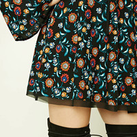 Floral Bell-Sleeve Mini Dress
