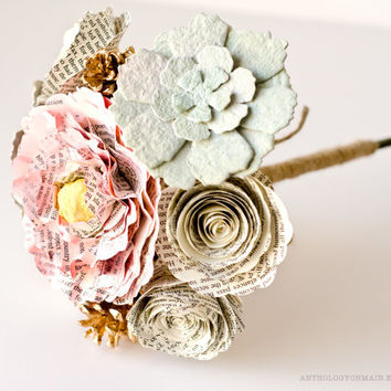Toss Bouquet, Flower Girl Bouquet or Bridesmaid Bouquet with Peonies, Roses, Succulents and Pinecones - IN YOUR COLORS - Jane Austen Wedding