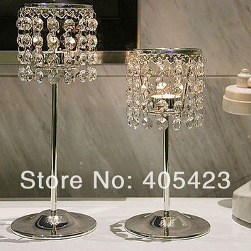 2Pcs/Set Big + Small, romantic Glass Crystal Candle Holder for Wedding Centerpiece & Home Decor