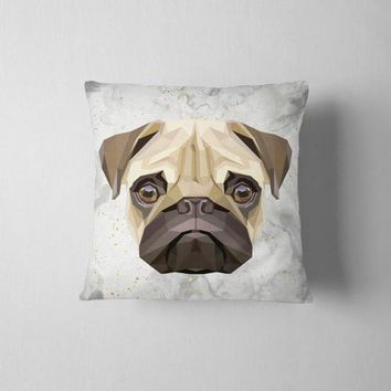 Geometric Pug White Decorative Throw Pillow Case