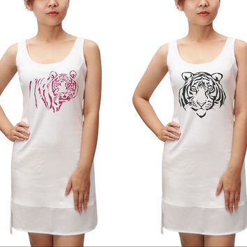 Women Tiger-1 Printed 100% Cotton Fit Sporty Tank Tunic Hi-low Dress WDS_13
