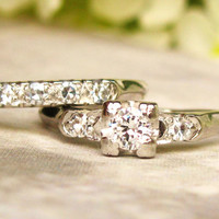 Platinum Vintage Engagement Ring 0.33ctw Diamond Wedding Set Vintage Diamond Wedding Ring Bridal Set Size 6!