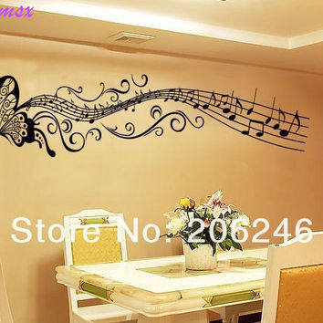 Hot Sale  Butterfly music note Wall Art Vinyl Removable Sticker decor decal DIY SM6