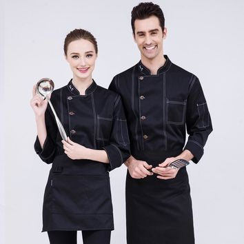 Trendy 2018 New Design Chefs White Coat Men and Women Fall/Winter Long Sleeve Blue Green Denim Uniform Hotel Cook Work Clothing Sales AT_94_13