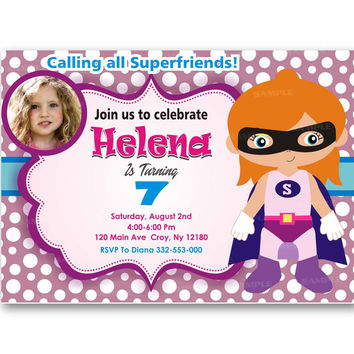 Superhero Girl Purple Polka Dot Kids Birthday Invitation Party Design