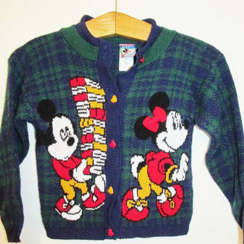Children's Vintage Mickey & Minnie Mouse Houndstooth School Cardigan Sweater