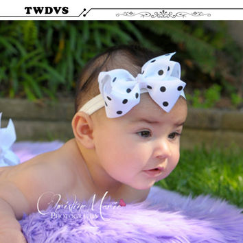 TWDVS Baby Bow Headband Girls Lace Headband Infant Knitting Hair Weave Bowknot Elasticity band Baby Hair Accessories W005