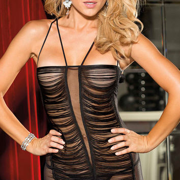 Black Fringed Mesh with Lace Accent Chemise