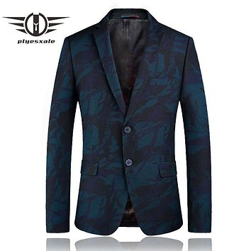 Fashion Print Blazer Jackets Men Spring Slim Fit Casual Blazer For Men Two Buttons Prom Stage Wear