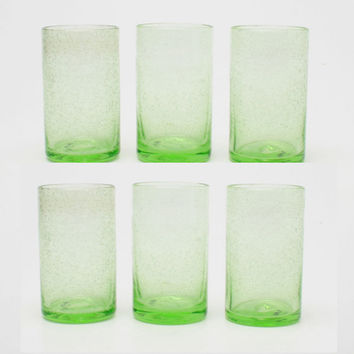 TAG 555172 Green Bubble Glass Tumbler, Set of 6