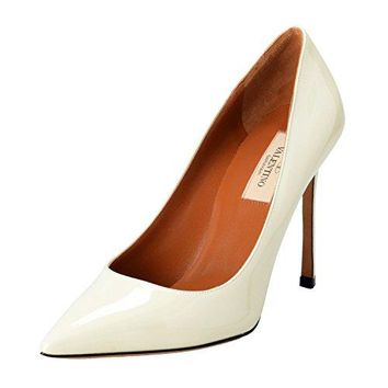 Valentino Garavani Women's Patent Leather Ivory High Heels Pumps Shoes