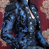 Toreador Jacket - BLUE AND BLACK TAPESTRY  by Shrine Clothing Gothic Dresses
