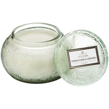Embossed Glass Chawan Bowl Candle French Cade Lavender