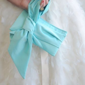 Tiffany Blue Bridal Clutch - The Elle Jane Clutch in Satin, Bridal Bag, Wedding Purse, Bridesmaids Big Bow Clutch, Tiffany Blue Wedding