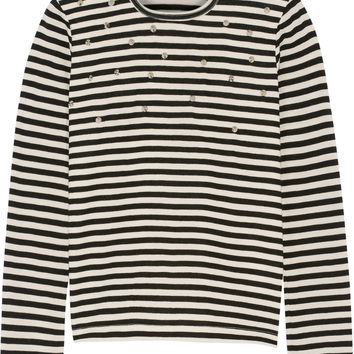 Junya Watanabe - Studded striped wool-jersey top
