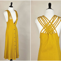 Deja dress // 90s maize ribbed knit cage straps plunging grunge dress // knotted backless // size XS