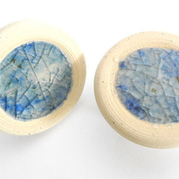 Cabinet Pull Handles - Handmade Ceramics Knobs  with Recycled Blue Green Glass