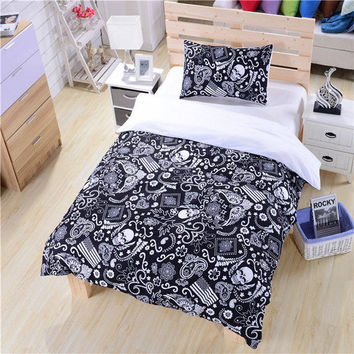 Black and White Paisley American Flag Skull Bedding Set New Hot Duvet Cover Unique Design Bed Sheets