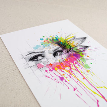 Art Print of My Illustration, Colorful Eyes with Splatters, 5x7