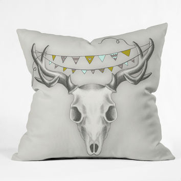 Wesley Bird Skull Outdoor Throw Pillow