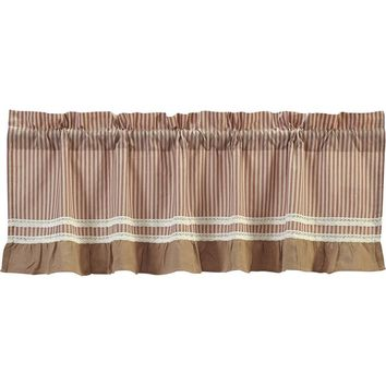 Kendra Stripe Red Valance Lined 16x60