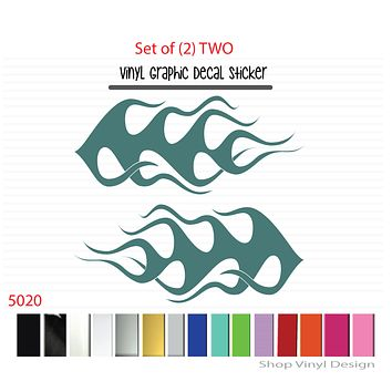 Flames Vinyl Graphic Decal Sticker  - STYLE F5020 - Set of (2)