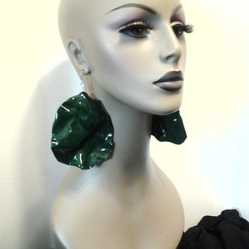 Uniquely Wacky Shape Plastic Dark Green Large Earrings, Big Earrings, Womens Earrings, Handmade Earrings, Womens Jewelry, Dimensionalvision