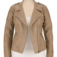 Cropped Asymmetrical plus size Moto Jacket