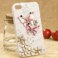 Handmade Charms iphone 4s case, iphone 5 cases, iphone 4 case, butterfly iphone 4s   case Lovely Butterfly Rhinestone Bling   Case