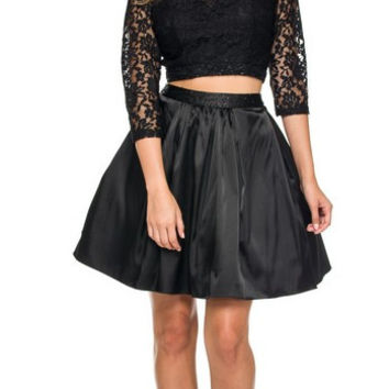 PR166166 Lace Top and Satin Skirt Two Piece Homecoming Cocktail Dress