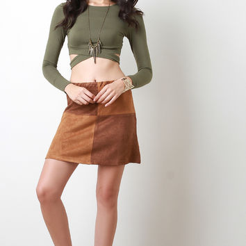Checker Vegan Suede Mini Skirt