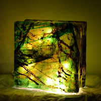 "Glass Light Box with String Lights in Green - ""Merch Light"""