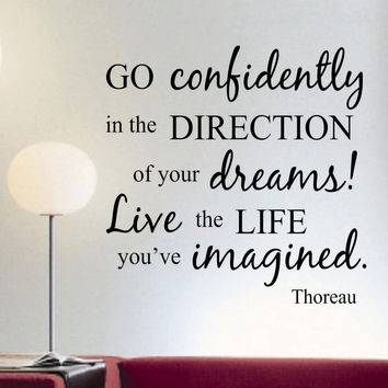 Go Confidently Thoreau Decal | Vinyl Lettering | Wall Quotes