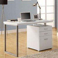 Left or Right Facing Modern Office Desk in White Finish with File Drawers