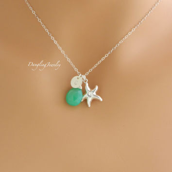 Starfish Charm Necklace, Personalized Initial Necklace, Birthstone Necklace, Monogram Disc Jewelry, Bridesmaid Gift, Bridesmaid Jewelry,