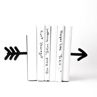 Bookends Arrow black laser cut metal bookends strong enough to hold your books