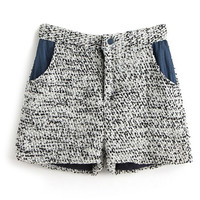 ROMWE Color Block Pocketed Woolen Shorts